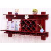 Wholesale Wall Mounted Wooden Wine Rack And Glass Holder Cabinet , Floating Wine Glass Rack Shelf from china suppliers