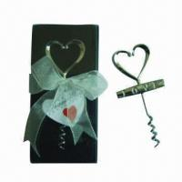 Wholesale Heart-shaped wine bottle corkscrew in PVC case with thanking card and ribbon (wedding gift) from china suppliers