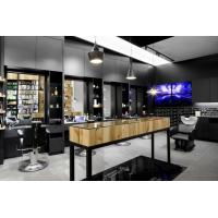 Wholesale Special Hairdressing salon interior fits out in Pine wood wall cabinets and Black metal shelves with Massage chair from china suppliers
