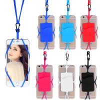 Wholesale Custom Universal Lightweight Silicone Mobile Cell Phone Back Strap With Card Slot from china suppliers