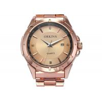 Wholesale ORKINA Stainless Steel Quartz Analog Watch Wristwatch , Gold Dial Watch from china suppliers