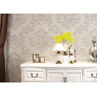 Wholesale Classic Style Sliver Embossed Wallpaper , White Geometric Damask Pattern Wallpaper from china suppliers
