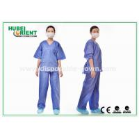 Wholesale Blue SMS Scrub Disposable Protective Gowns For Doctor / Patient , Size Customized from china suppliers