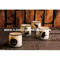 Wholesale Paraffin Wax Flameless Halloween LED Candles , LED Votives With Halloween Printing from china suppliers