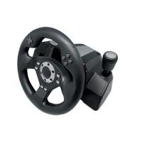 Wholesale Black Wired USB Force Feedback Steering Wheel And Pedals For Computer from china suppliers