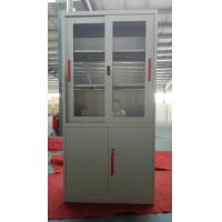 Glass/steel door swing open steel cupboard cabinet Knocked down structure/white/grey color/cam lock
