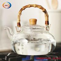 Buy cheap clear pyrex glass big teapot with bamboo handle from wholesalers