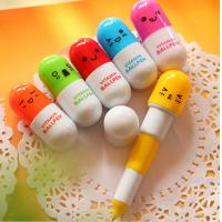 Wholesale Pill Shaped Vitamin Ballpen Promotional Stationery With Smile Face from china suppliers
