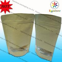 Wholesale Stand Up Ziplock Brown Kraft Customized Paper Bags With Window For Snack Packaging from china suppliers