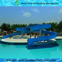 Wholesale Fiberglass Swimming Pool Water Slide , Blue Commercial Spiral Water Slide from china suppliers