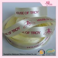 Wholesale Luster Surface Yellow Polyester  Custom Printed Ribbon With Red Print logo  5 / 8'' from china suppliers