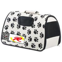 China Pet Life Airline Approved Zippered Folding Pet Carrier - Beige & Paw Print on sale