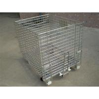 Wholesale 50mm * 50mm Wire Mesh Containers 4 Wheels Folding Wire Containers With Pulls from china suppliers