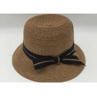 Buy cheap Straw Hat Women's Summer Beach Sun Hat with Bowtie Ribbon from wholesalers