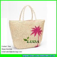 Wholesale LUDA natural paper straw crochet embroidery tote bag from china suppliers