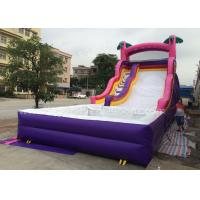 Wholesale 0.55mm Pvc Purple Inflatable Bouncer Slide With Pool For Kids 6x3x3m from china suppliers