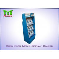 Wholesale UV coating blue color custom cardboard displays rack with plastic hooks for Mani Pedi from china suppliers