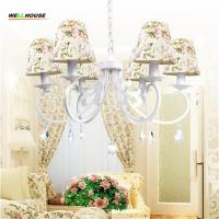 Wholesale New arrival Country Style Iron Art Chandeliers Colorful Fabric Shade Optional luminaire For Home Decoration abajur Free from china suppliers