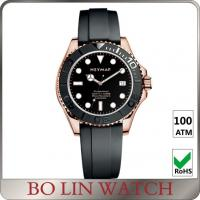 Quality Super Luminous Solid 316 Stainless Steel Dive Watch With Rubber Strap 44mm Case for sale