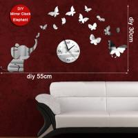 Quality Elephant Butterfly Decorative DIY Mirror Wall Clocks Unique Design for sale