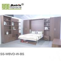 Wholesale Europe Style Double Folding Wall Bed With Bookshelf Brown Color Melamine Finish from china suppliers