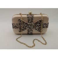 Crystal Bow Satin Box Clutch Bag , Hardcase Metal Patent Clutch Bag