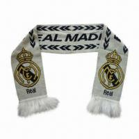 Wholesale Real Madrid Football Jacquard Knitted Scarf, Made of 100% Acrylic from china suppliers