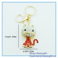 Wholesale Small cat shape with diamond metal key chain from china suppliers