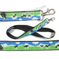 Wholesale Logo woven ribbon overlay lanyards, design text jacquard ribbon applique badge lanyards, from china suppliers