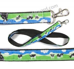 Wholesale Logo woven ribbon overlay lanyards, design text jacquard ribbon applique badge lanyards, from china suppliers