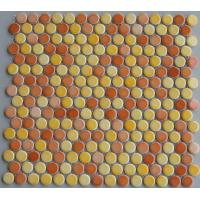 Wholesale Colorful Penny Round Ceramic Mosaic Tiles , 300x300 Mesh Dotted Mosaic Tiles from china suppliers