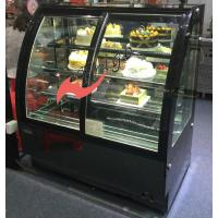 Quality 3 Shelves Food Display Showcase Front Sliding Door , Glass Bakery Display Case for sale