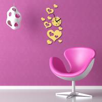 Wholesale heart shaped wall clock diy mirror wall sticker clock from china suppliers
