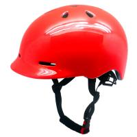 Wholesale Shiny red cool urban commuter helmet skateboarding helmet with built in visor from china suppliers