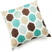 "Wholesale 20"" x 20"" Block Party Jacquard Polyester Throw Pillow In Green Coffee And Gray Colors from china suppliers"