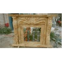 Wholesale Carved Flowers, Beige Simple Marble Fireplace mental, ethanol beige fireplace from china suppliers