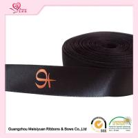 Buy cheap Single Sided Printed Satin Ribbon , Black Polyester Personalized Favor Ribbons from wholesalers