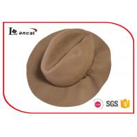Wholesale Beige Ladies Waterproofing Wool Felt Hat With Leather Belt Trim / Black Sweatband from china suppliers