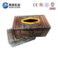 Quality Muticolored Canvas Printing Wooden Box/ Tissue Box/Paper Container for Paper Storage for sale