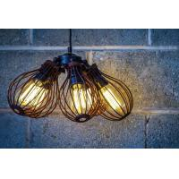Wholesale Loft Warehouse Industrial Vintage Lighting Rust Cage Chandelier 5 Edison Lights from china suppliers