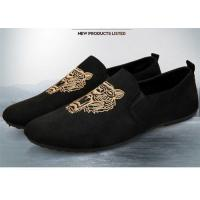 Quality Autumn Slip On Vintage Loafer Shoes Embroidered Men Dress Shoes Black Blue for sale