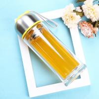 Wholesale Environmental 350ml Double Wall Glass Bottle With Tea Infuser , Easy Cleaning from china suppliers