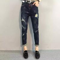 Wholesale Casual Style Women Printed Star Pattern Ripped Skinny Jeans With Embroidered Pocket from china suppliers