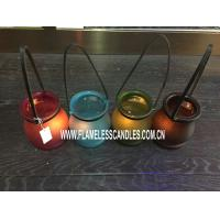 Wholesale LED Glass Votive Candles With Holder Made With Leather Handle For Home Decoration from china suppliers