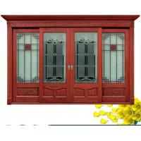 Wholesale Red  Carve patterns solid Wooden Automatic telescoping sliding doors from china suppliers