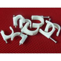China Wire Fastening  Round Nail Cable Clip PE and Steel Material White / Black on sale