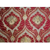 Wholesale Polyester Red Chenille Jacquard Fabric 330GSM Flower Pattern from china suppliers