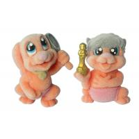 Fashion Orange Pink Plastic Dog Figurines Small Funny With Flocking Touch