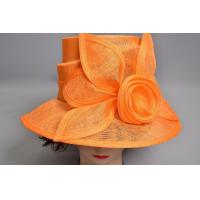 Wholesale Orange Telescope Sinamay Ladies Big Brim Hats SInamay Trimming from china suppliers