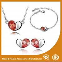 Wholesale Heart Shape Alloy Jewelry Sets Silver Plated Jewelry Sets For Ladies from china suppliers
